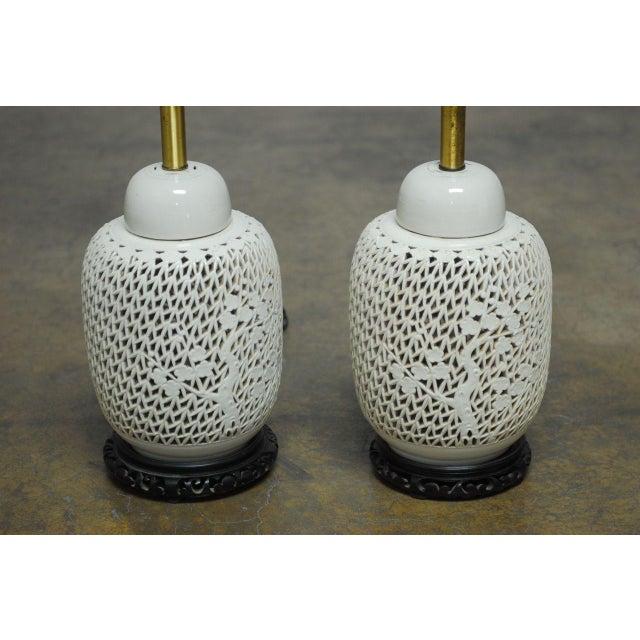 Blanc de chine pierced table lamps a pair chairish for Table de chine