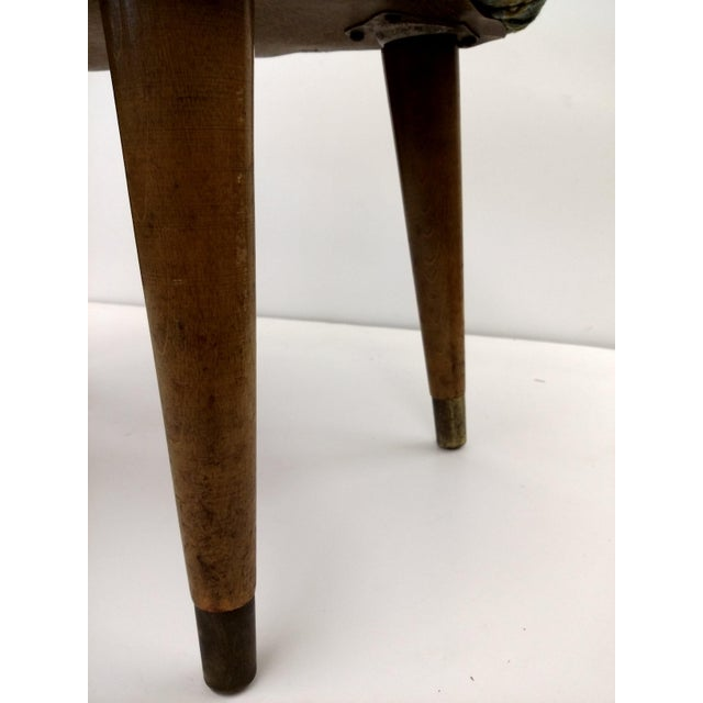 Mid-Century Cardinal Upholstered Stool - Image 5 of 11