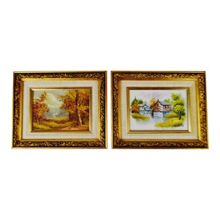 Vintage Framed Oil Paintings Signed by W. Zeller and C. Inness - a Pair
