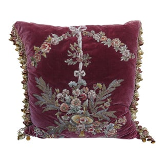 Antique Appliqued Metallic & Chenille Silk Velvet Pillow