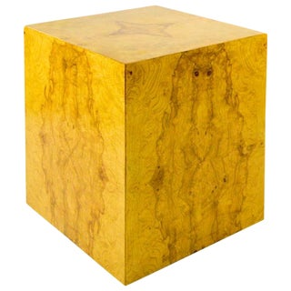 Baughman Style Burl Wood Cube Side Table