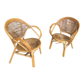 Vintage Boho Bamboo Club Chairs - A Pair