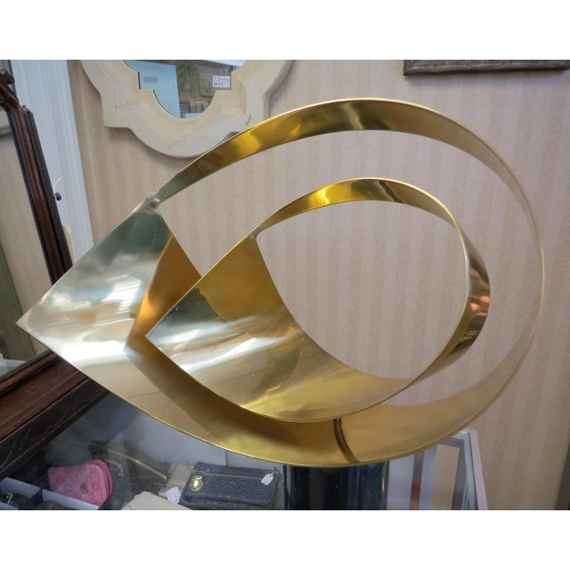 Curtis Jere Ribbon Brass & Marble Sculpture - Image 2 of 10