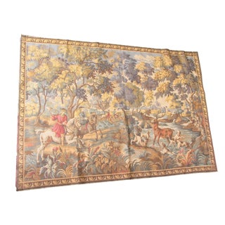 "Vintage French Hunting Scene Tapestry -5'1"" x 3'7"""