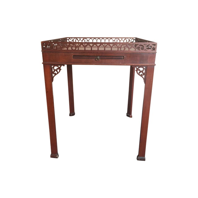 Chippendale-Style Wood Side Table - Image 1 of 7