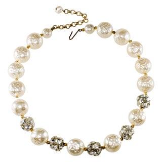 Cotton Ball Pearl & Rhinestone Necklace