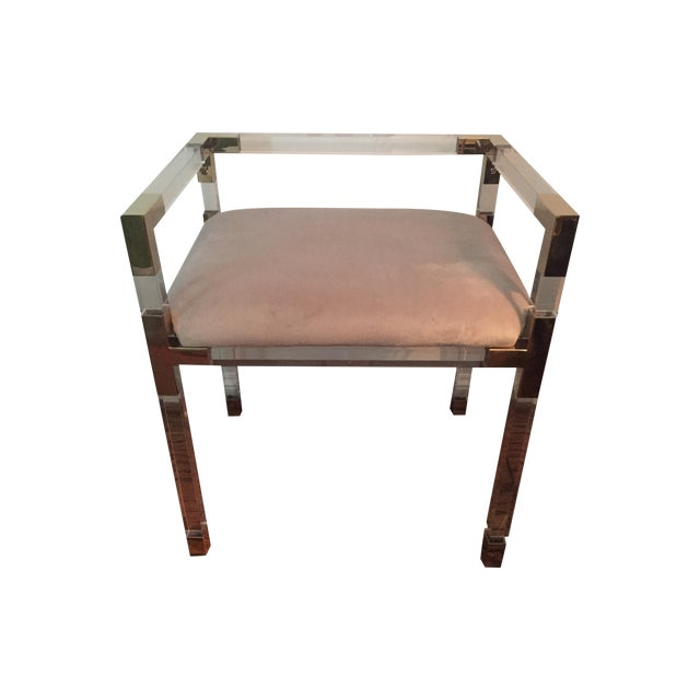 Image of Adler Style 'Jacques' Lucite & Brass Chair Stool