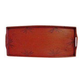 Cinnabar Red Bamboo Leaf Design Tray