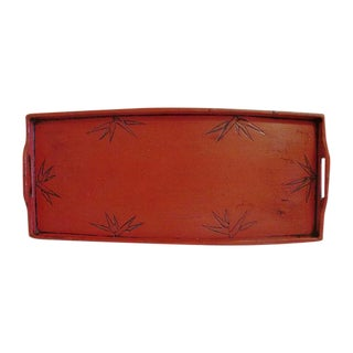 Cinnabar Red Bamboo Leaf Design Tray