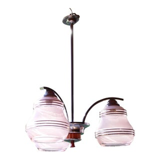 Antique Art Deco 3-Arm Chandelier with Pink Glass Shades