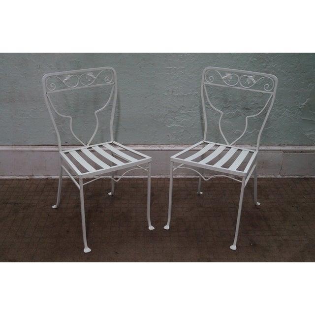 Image of Vintage White Painted Iron Patio Dining Set