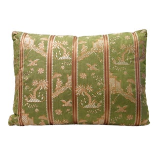 Green Silk Chinoiserie Pillow