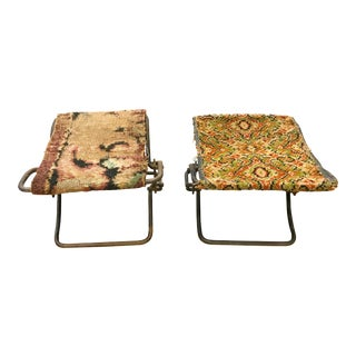 Pair, Civil War Era Folding Metal Stools with Rug Seats