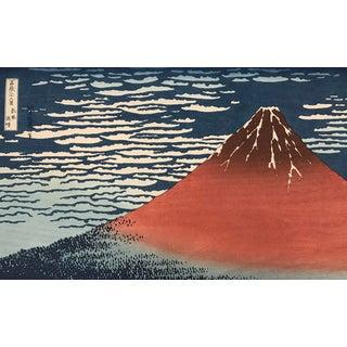 Japanese Woodblock Print of Red Fuji by Katsushika Hokusai