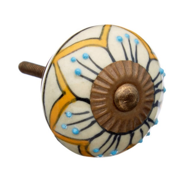Mustard Flowers Decorative Knobs - Set of 6 - Image 1 of 2