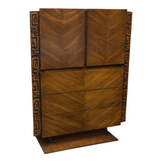 Brutalist Midcentury Walnut Highboy by United Furniture