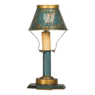 A rare Louis XVI style hand painted tôle lamp from France c. 1840 wired for American electricity