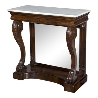 Classical Rosewood Mirrored Pier Table with Original Marble Top