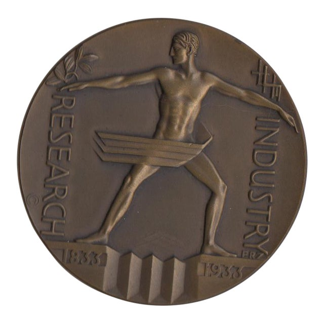 1933 Art Deco Chicago Expo Bronze Sculpture Medallion - Image 1 of 3
