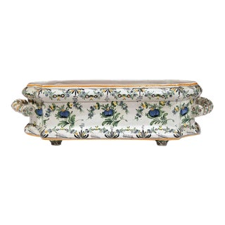 19th Century French Hand Painted Faience Jardinière