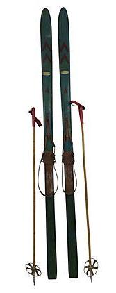 European Snow Skis With Bamboo Poles A Pair Chairish
