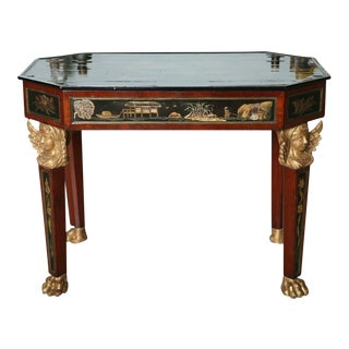 Fine Mahogany, Parcel-Gilt, Chinoiserie Center Table