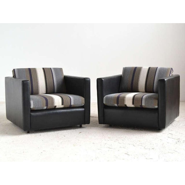 Pair of Pfister Lounge Chairs by Knoll in Leather and Fabric - Image 6 of 8