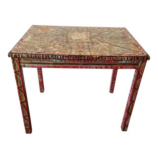Reclaimed Vintage Side Table With Decoupage