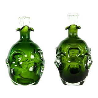 Glass Green Decanters - A Pair