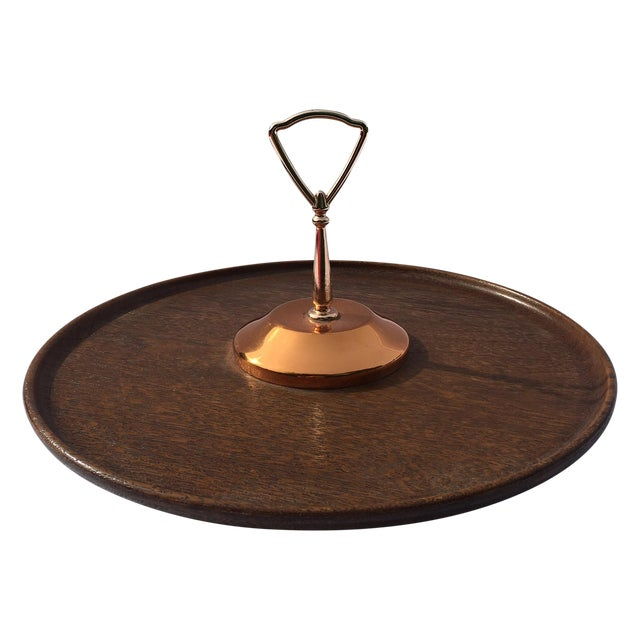 Midcentury Modern Copper and Teak Wood Lazy Susan - Image 1 of 9