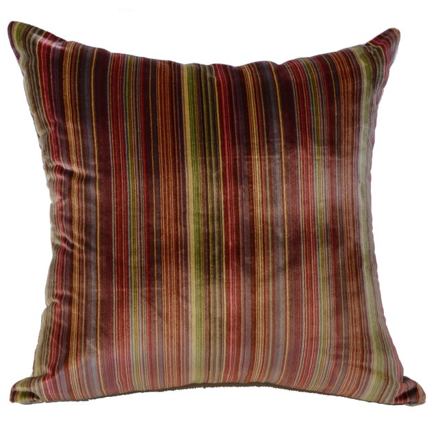Scalamandré 100% Silk Velvet Rainbow Stripe Pillow - Image 2 of 10