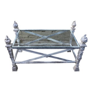 English Coffee Table With Flamed Torch Finials