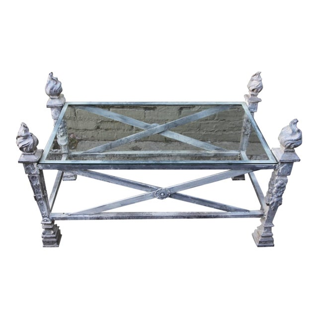 English Coffee Table With Flamed Torch Finials Chairish
