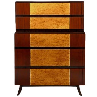 Birdseye Maple and Mahogany Highboy by R-Way