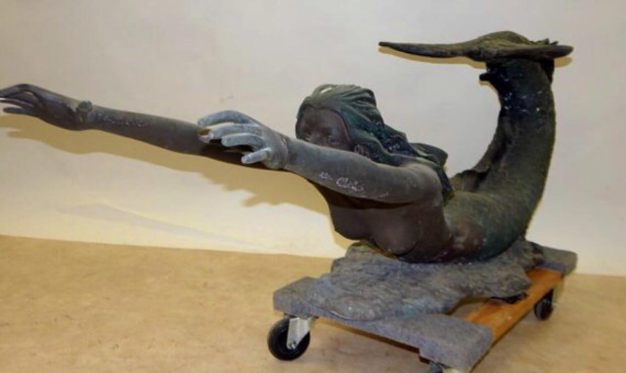 vintage bronze mermaid coffee table | chairish
