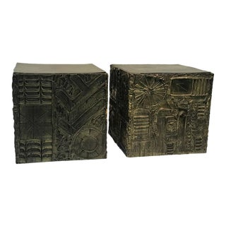 Adrian Pearsall Brutalist Cube Shaped End Tables - A Pair