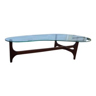 Walnut Sculptural Cocktail Table With Glass Top