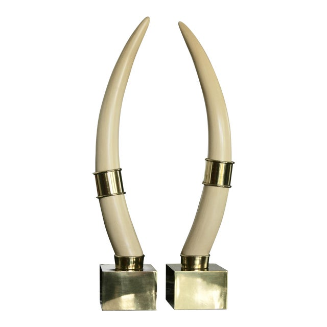 Brass Mounted Faux Tusks by Chapman - Image 1 of 11