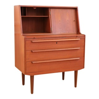 Danish Mid Century Modern Secretary Desk Vanity with Mirror
