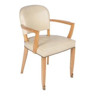 Sycamore Leather Upholstered Armchair by Jules Leleu