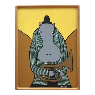 Original Painting Hippo With Tuba by B.D.Floyd