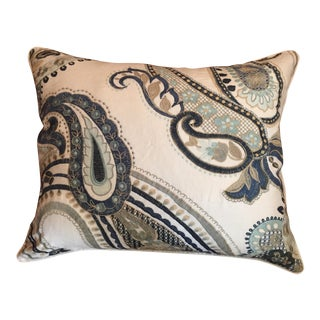 Schumacher Embroidered Fabric Decorative Pillow