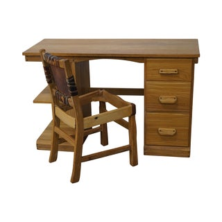 Brandt Ranch Oak Rustic Writing Desk & Chair