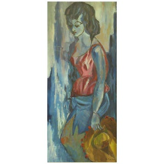 Blue Woman with Hat Oil on Canvas by B. Maltz