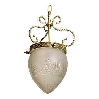 French 1920s Brass and Etched Glass Hanging Lantern or Pendant