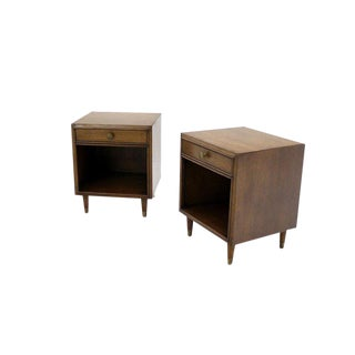 Pair of Johnson Mid-Century Modern Walnut Night Stands