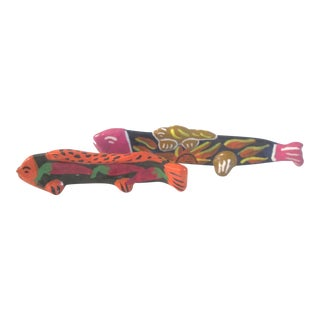 Mexican Hand-Made Standing Fish Maraca - A Pair
