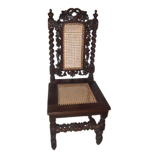 Restored 18th Century Spanish Carved Walnut & Cane Chair