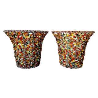 Beaded Tealight Wall Sconces - A Pair