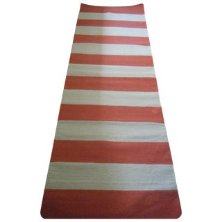 "Nautical Red and Tan Wool Striped Rug - 2'6"" x 8'"